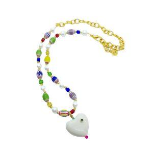 Collar cristal murano y perlas con corazon marta sanjose