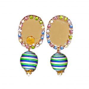 pendientes base metacrilato espejo dorado con strass multicolor y bolas de soutache Marta Sanjosé
