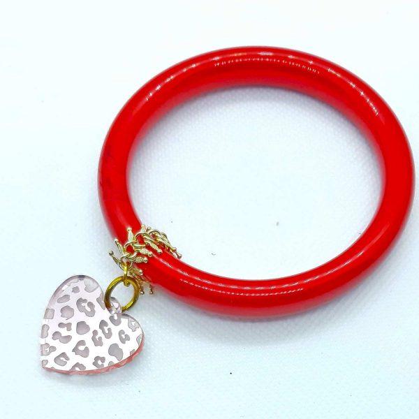 Pulsera rígida roja con corazón espejo rosa Marta Sanjosé