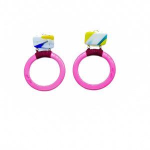 Aro rosa con cristal murano de marta sajose