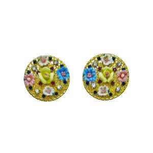 Pendientes circulares flores porcelana Marta Sanjosé